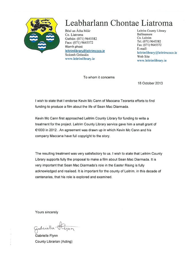 Letter from Leitrim County Library, October 2013