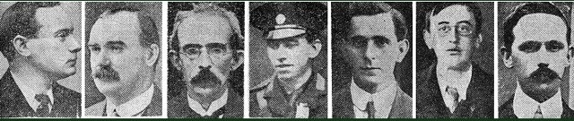 Easter Rising rebellion leaders: MacDiarmada third from right