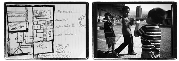 (Left) An 11 year old's layout drawing of his last home. (Right) Children at a homeless shelter blow bubbles outside.