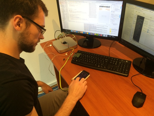 Robert, our iOS programmer, testing the jet lag application