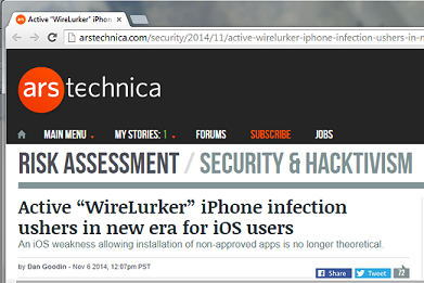 """Screenshot from """"WireLurker"""" article at ArsTechnica"""