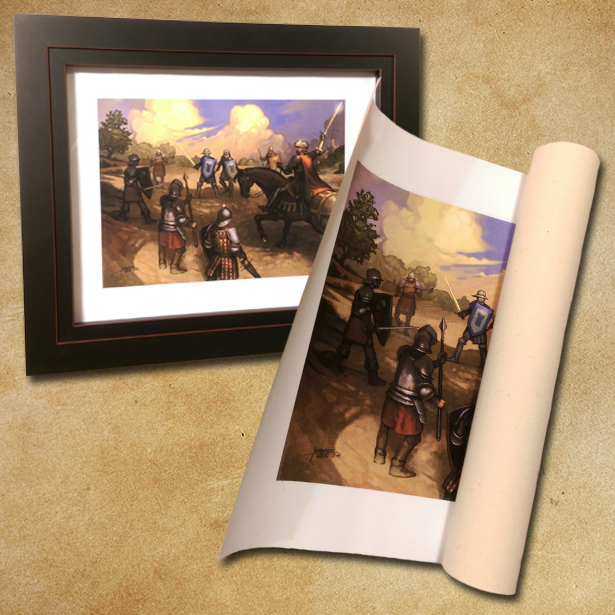 Right: rolled canvas how backers will receive their print.   Left: example of framing the canvas using basic craft-store frame.