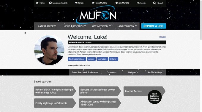 Draft of Member Profile page