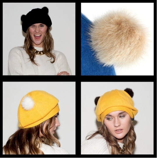 2. Impy Beanie. Click to see available hat colours. All pom-poms in camel (top right).