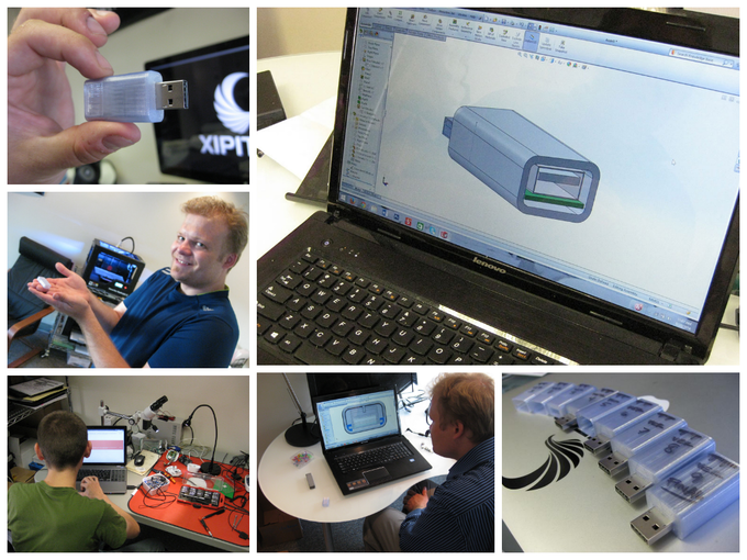 Industrial Engineer Tom Tice refines one of the SyncStop revisions at Xipiter offices