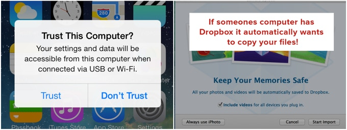 Even if you select don't trust or copy, its possible for data to be transferred!