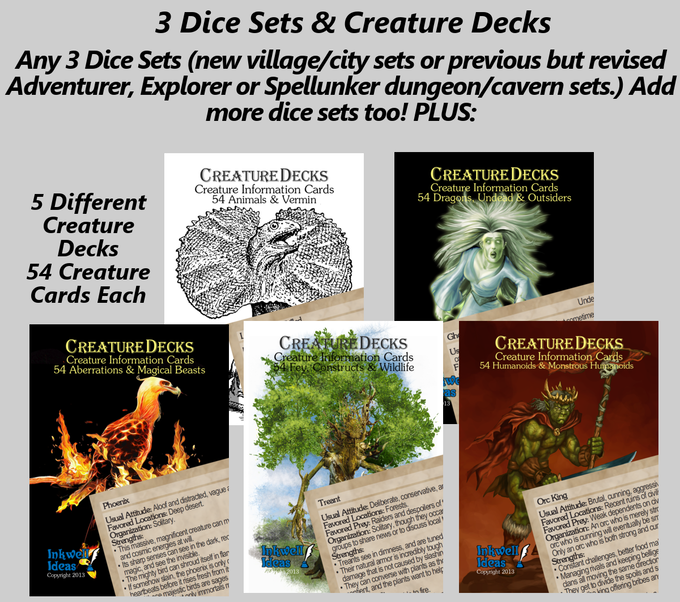 3 Dice Sets (or more!) and 5 Creature Decks