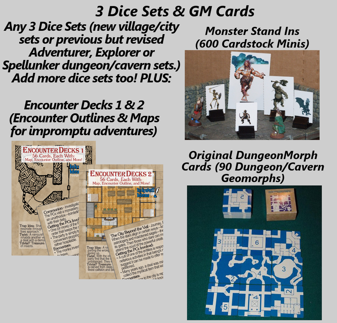 3 Dice Sets (or more!) plus 2 Encounter Decks & Monster Stand-Ins & the original DungeonMorph Cards