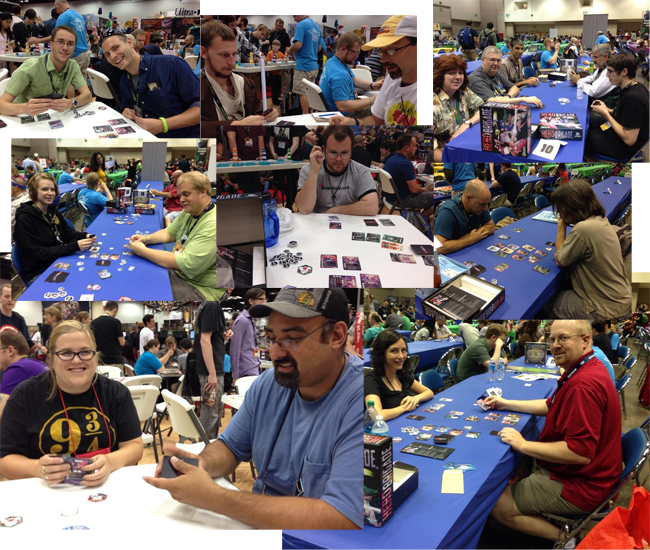 Hero Brigade at GenCon 2014. Don't ask me how many times I lost at my own game.