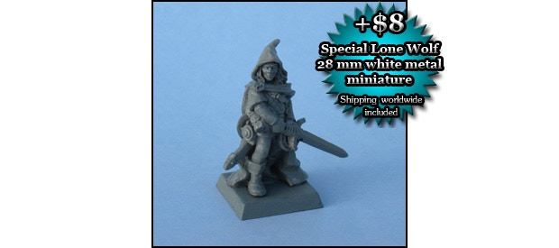 LONE WOLF MINIATURE: A special 28 mm white metal miniature of Lone Wolf the Kai Lord, sculpted by Gary Morley from Gary Chalk's design (add $8)