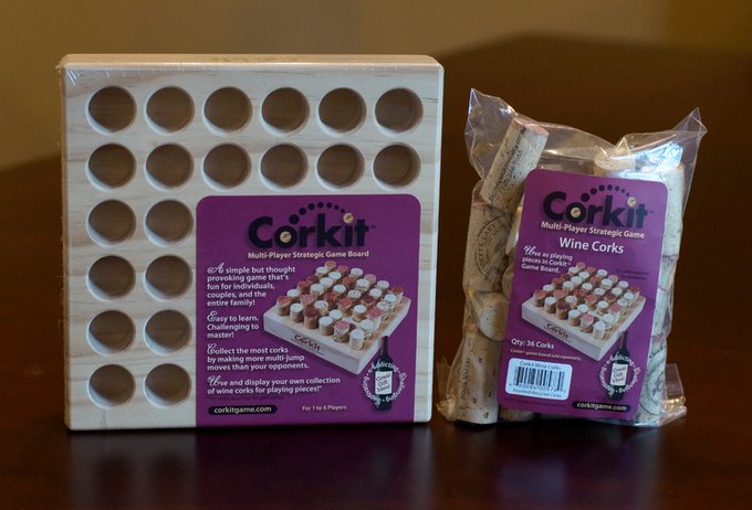 Wine cork playing pieces are sold separately so you can use and display your own wine cork collection! Corkit also makes a great gift, along with a package of our wine corks and a bottle of wine!