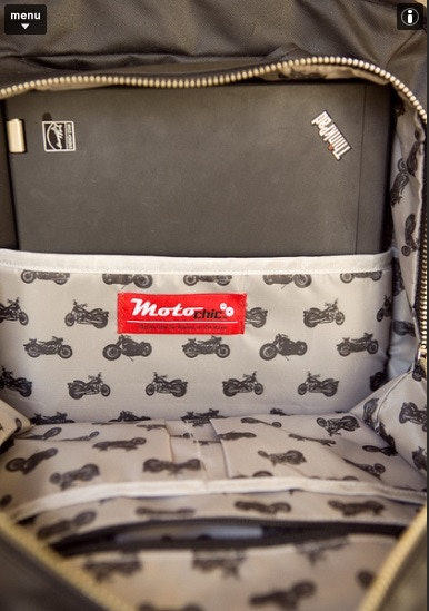 Inside padded pocket with water resistant  moto print lining
