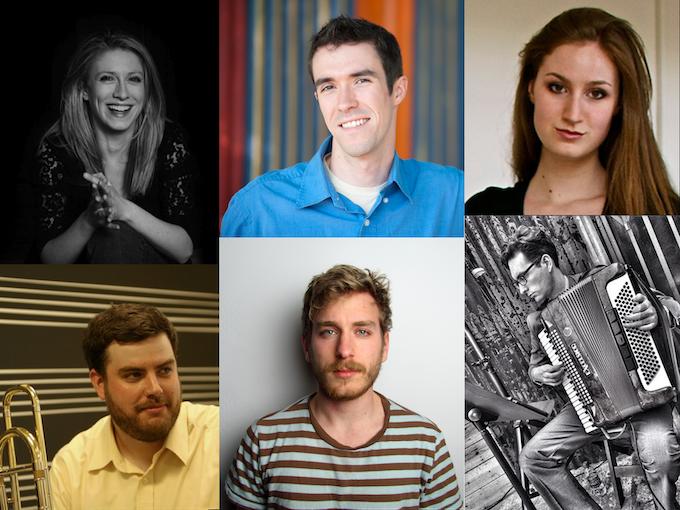 Top (L to R): Emma O'Halloran, Eli Fieldsteel, Tina Tallon. Bottom (L to R): Doug Laustsen, Greg Brown, Isaac Schankler