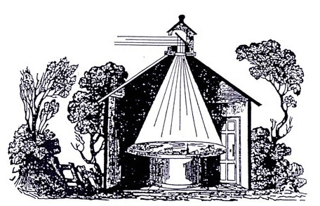 A Victorian-style camera obscura in a hut, projecting on a round table.