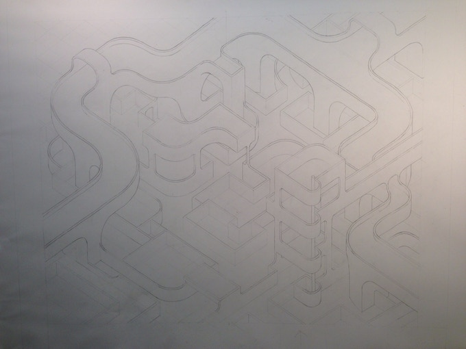 roughing out in graphite - figuring out the walls