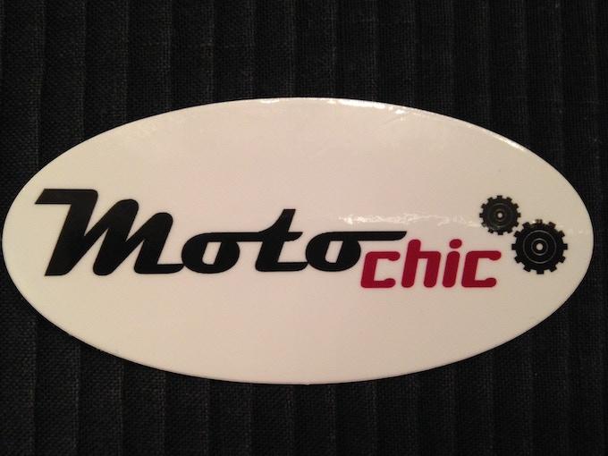 "$5 A fun, 4"" x 2"" MotoChic Gear sticker. Wear with pride on your helmet or bike."