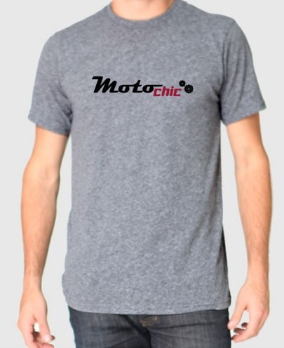 $25 A soft, heather grey unisex T-shirt with short sleeves and glow-in-the dark MotoChic Gear logo. The fabric's treated with an antibacterial coating for all-day freshness. (Sizes: XS, S, M, L, XL, 2XL, 3XL)