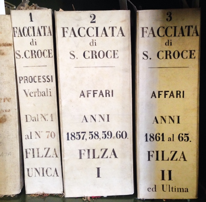 Records of the facade deliberation and support in the historical archive of Santa Croce