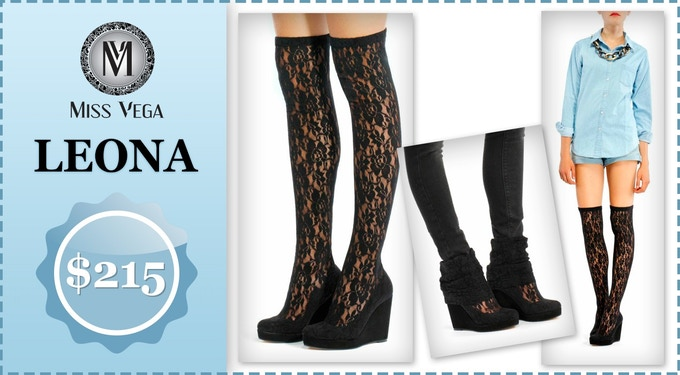 Leona is sensual and comfortable. Leona Shocks combine a black wedge in suede and black lace