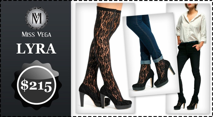 Lyra stands for black high heels and black lace. The most sensual Miss Vega Shocks