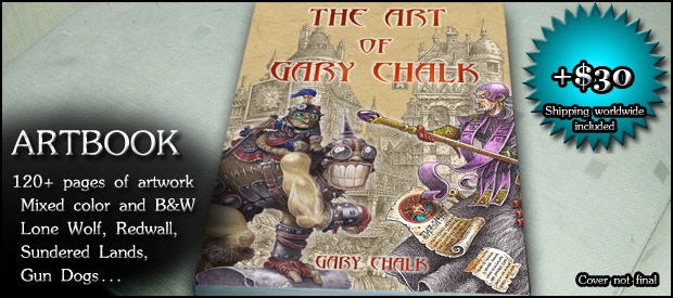 ARTBOOK: 120+ page book compiling images from across the many worlds touched by Gary Chalk (+$30)