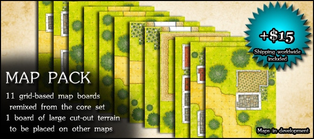 MAP PACK: Another 12 grid-based map boards, modular folded card sheets; 11 are remixed from the core set, one is for cut-out terrain (+$15)