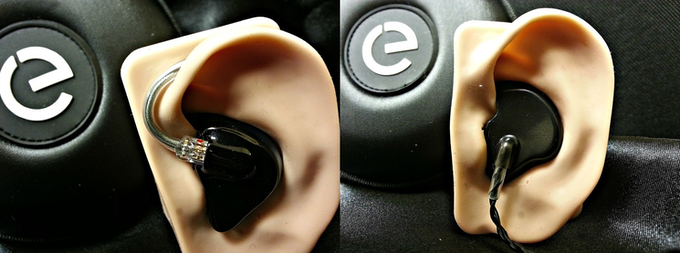 Left: Pro Style over-the-ear fitment with detachable cable, Right: Hero Style hard-wired, straight-down cable