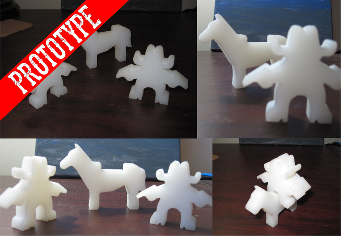 To speed up production after funding we had a machinist cut early prototypes of the cowboy and horse pieces to send to the manufacturer. This is to prevent many back and forth exchanges during proofing in order to get the game to you ASAP.