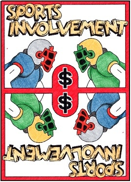 """Mock-up of the """"Sports Involvement"""" card.  This is an """"issue"""" card that is playable on a child card in the high school age category, and which must be remedied by playing one more Money cards."""