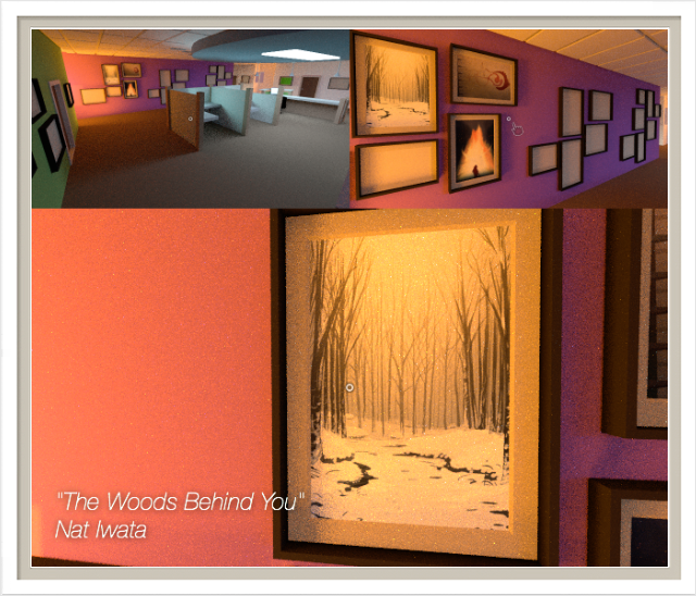 Players can select a particular picture to inspect as they approach. The camera will move close enough for the image to fill the screen, and the title of the image may be displayed in text floating near the frame.