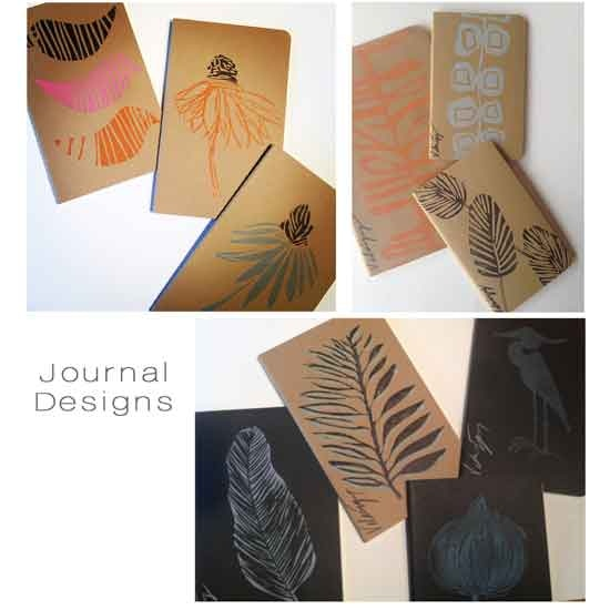 Reward 6 • Handprinted unlined Journals • your choice of design