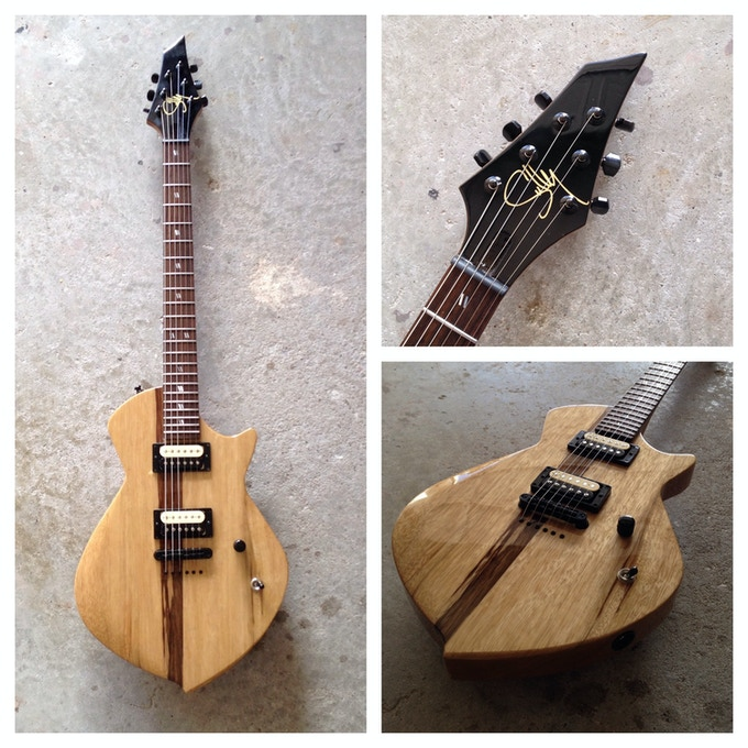 '71 Prototype #1 in a natural gloss finish. Black limba body and neck, rosewood fretboard with stainless steel jumbo frets, mother of pearl slash inlays, Habanero pickups, Gotoh hardware
