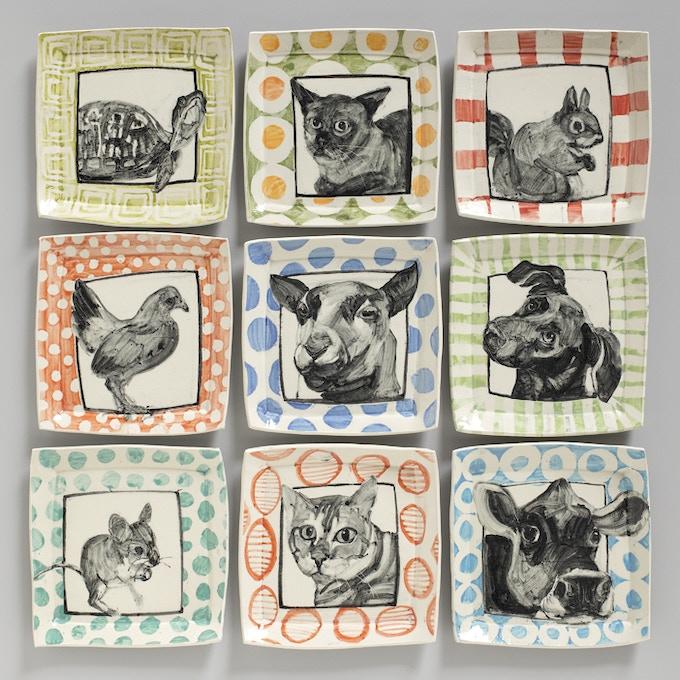 Set of 4 Animal Portrait Plates by Hannah Niswonger, $325 pledge level