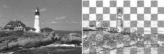 Noise Amplification (note how small distortions and artifacts in the left image become magnified in the right image)