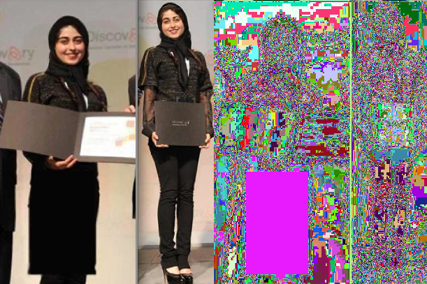 Randomized Palette on Altered and Unaltered Images (left image has a drawn in skirt. right image is unaltered)