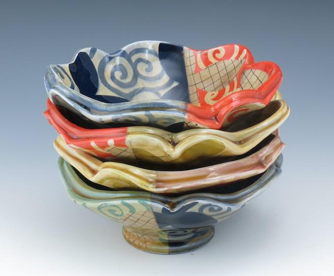 set of four dessert bowls by Adero Willard, $175 pledge level