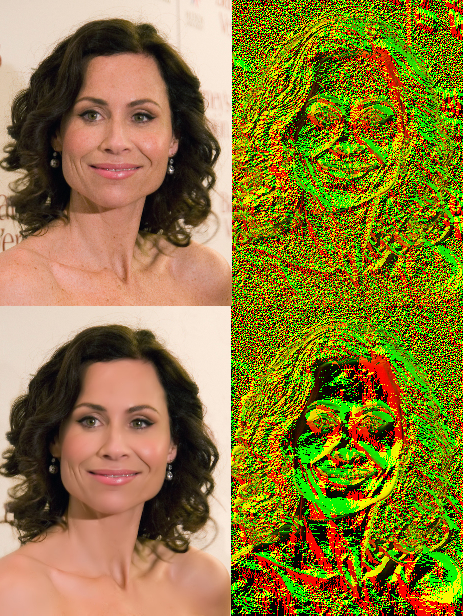 Lighting Direction Analysis (color indicates the direction of lighting; top image is the original; bottom image is altered)