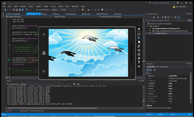 Preliminary work showing a WinRT/DirectX app on Windows 8 running a Gideros/Lua program