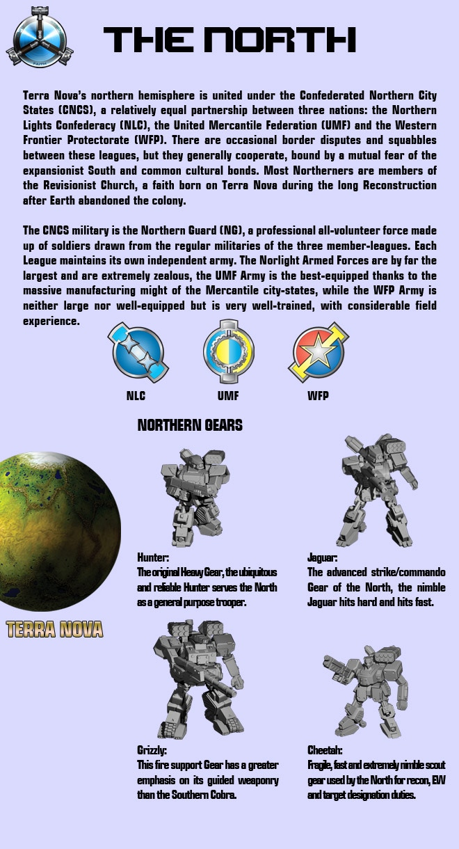 Information on Heavy Gear's Northern Faction.