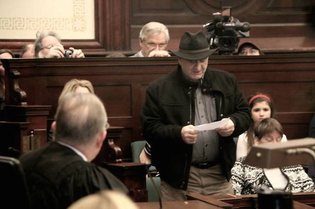 Jury Foreman Don Rittner delivers the verdict. (Photo by Mark Fallon.)