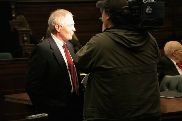 Attorney Jack Casey speaks to the media. (Photo by Mark Fallon.)