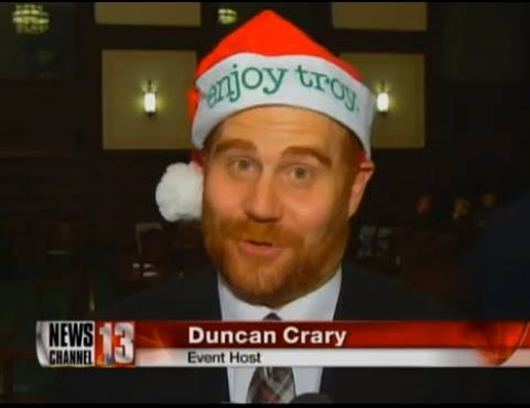 Event creator Duncan Crary wishes Happy Christmas to all, and to all a good night. (Screenshot, WNYT Ch. 13)