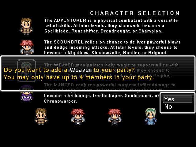 Character Select screen when you start a new game.
