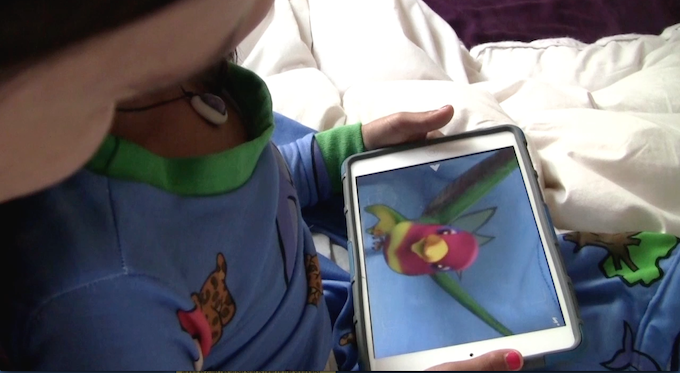 Hovering a mobile device over the hummingbird brings it to life