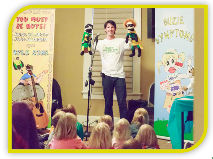 Kyle Dine is a trusted educator who performs allergy awareness assemblies across North America. He has performed at over 500 schools and has educated millions since 2007. He is allergic to peanuts, tree nuts, eggs, seafood and mustard.