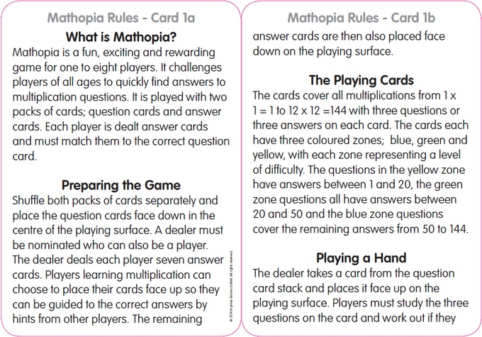 Rule Card 1 - large text make it easy to read.
