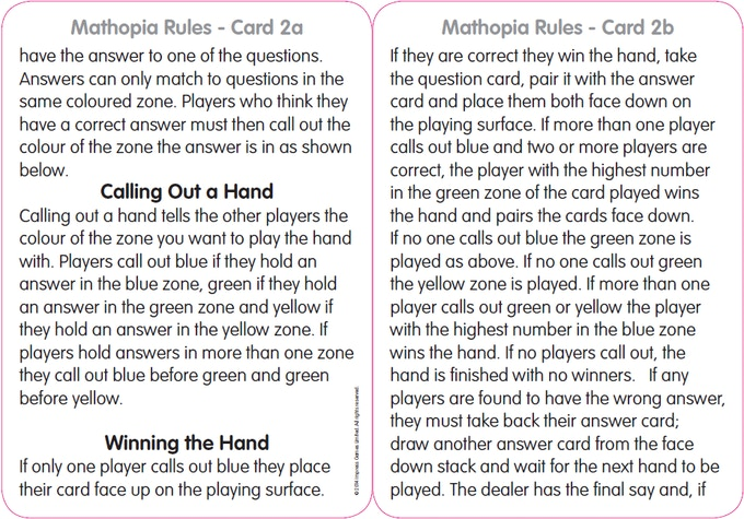 Rule Card 2 - the main game play