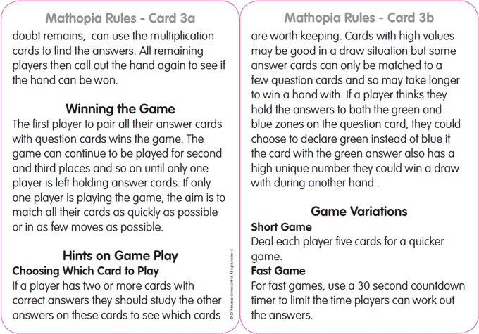 Rule Card 3 - Hints & Variations