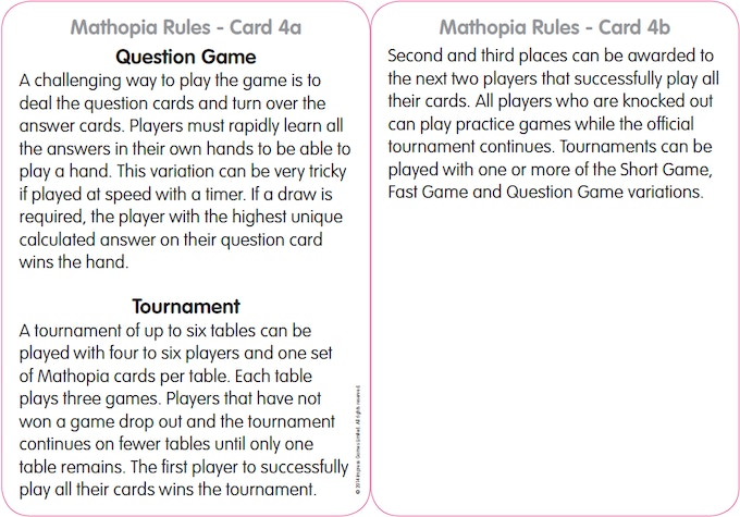Rule Card 4 - Reverse Play and Tournament Instructions