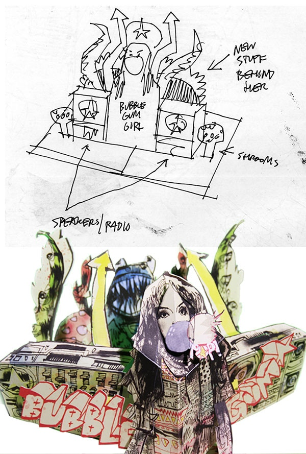 Part of the design process to make Jim Mahfood's page a pop up
